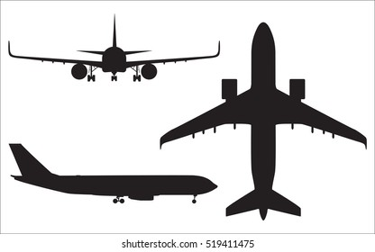 Airplane silhouettes isolated on white background, aircraft vector illustration
