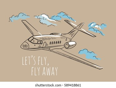 Airplane sketch. Hand drawn illustration for your design: tickets, t-shirt.