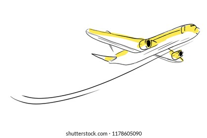 Airplane sketch skyward in sky. Aircraft in minimalistic style with colored accents sunlight on plane. Hand draw line art. Vector isolated illustration. Use as icon sticker symbol poster card sign.