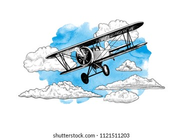 Airplane in the sky with clouds. Image of a biplane on a watercolor stain. Hand-drawn vector vintage Illustration.