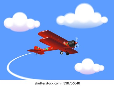 Airplane in the sky with the clouds. Old styled red biplane
