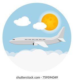 airplane with sky, clouds, sun flat design icon