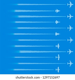 Airplane in the sky with contrail. Set of vector illustrations. Concept of flight and travel. Silhouettes of passenger planes and military fighters flying high in clear sky. Template for travel design