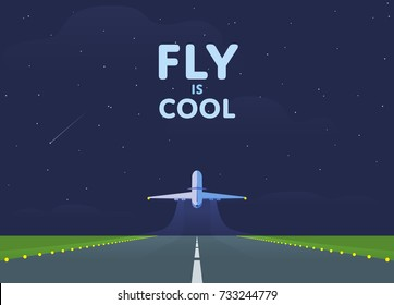 Airplane in the sky, runway and take-off plane. Starry night sky. Vector illustration.