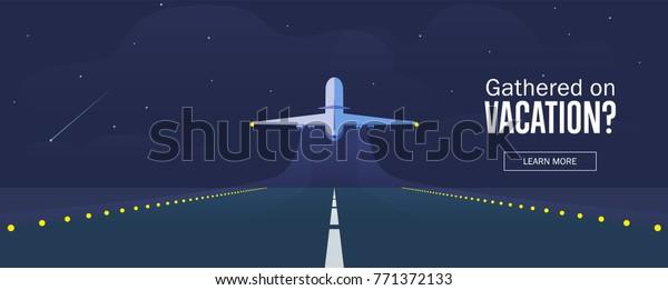 Самолет в небе, взлетно-посадочная полоса и взлетно-посадочного самолета. Баннер или флаер для оформления путешествий и отдыха. Звездное ночное небо. Векторная иллюстрация.
