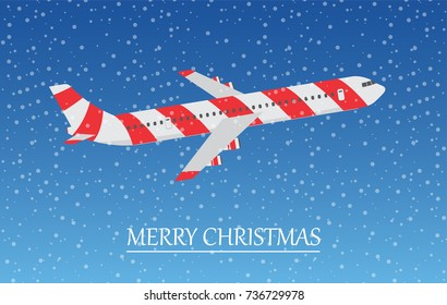 Airplane in the sky with snowflakes. Merry Christmas