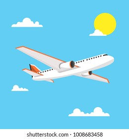 Airplane in sky. Vector illustration.