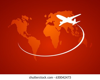 Airplane symbol red vector design