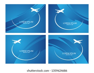 Airplane symbol vector set