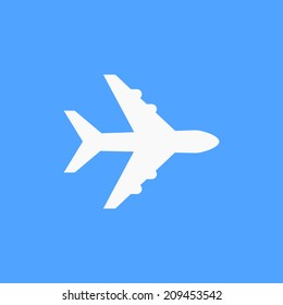 Airplane symbol. White airplane icon, on blue sky background. Use for banner, card, poster, brochure, banner, app, web design. Easy to edit. Vector illustration - EPS10.