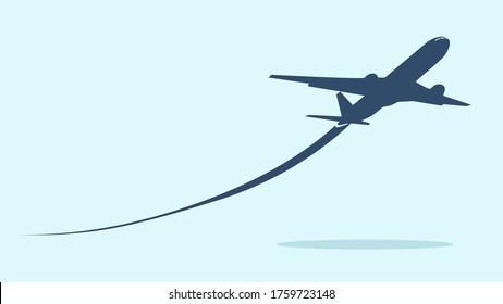 Airplane symbol.Flying up airplane icon.Takeoff plane symbol.Vector illustration