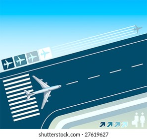 Airplane at the take-off strip concept illustration