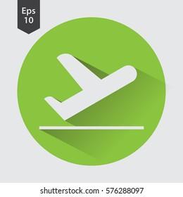 Airplane Takeoff Vector Icon In Circle. Departure Flight. Web Icon. Flat Symbol Style. Simple Graphic Design. Vector Illustration