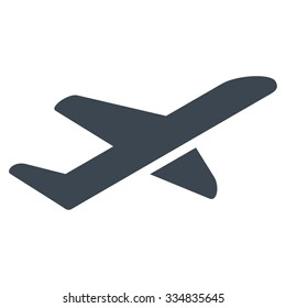 Airplane Takeoff vector icon. Style is flat smooth blue symbol, rounded angles, white background.