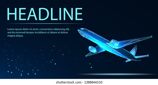 Airplane taking off. Travel by air transport. Low poly vector illustration. Headline