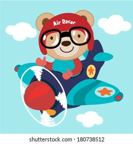 Airplane with a teddy bear. Vector illustration