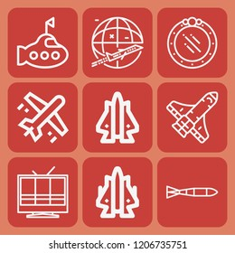 Airplane, television, submarine, space shuttle, submarine torpedo icon set suitable for info graphics, websites and print media and interfaces