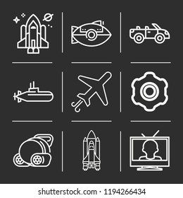 Airplane, televisions, submarine, little submarine, convertible, shuttle icon set suitable for info graphics, websites and print media and interfaces. line vector icons.
