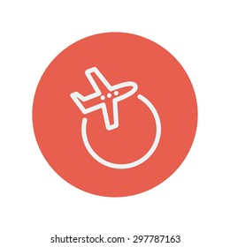 Airplane thin line icon for web and mobile minimalistic flat design. Vector white icon inside the red circle.