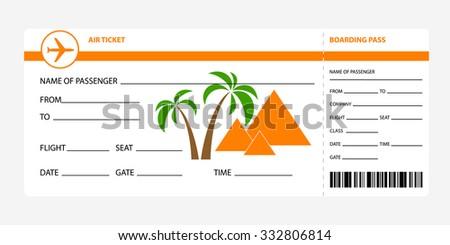 Airplane Ticket Blank Space Orange Boarding Stock Vector Royalty