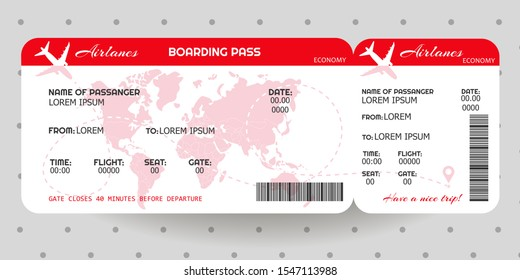 Airplane ticket. Boarding pass ticket template. Concept of travel, journey or business. Vector illustration