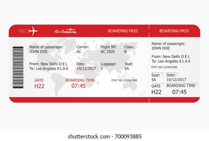 Airplane ticket. Boarding pass ticket template. Vector