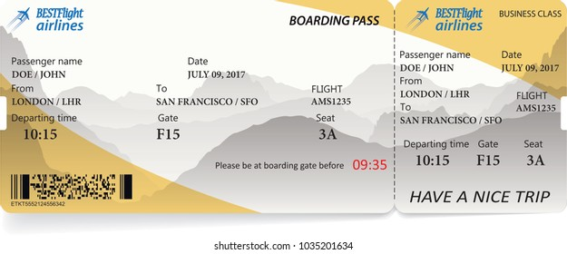 Airplane ticket boarding pass. Yellow flight coupon isolated on white background. Vector illustration