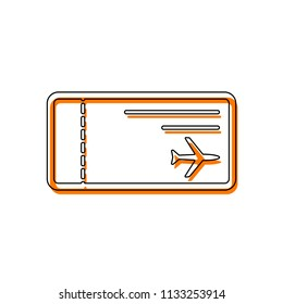 airplane ticket icon. Isolated icon consisting of black thin contour and orange moved filling on different layers. White background
