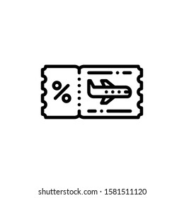 Airplane Ticket Icon Outline Vector. Holiday Sale Icons. Online Shop Ikon.