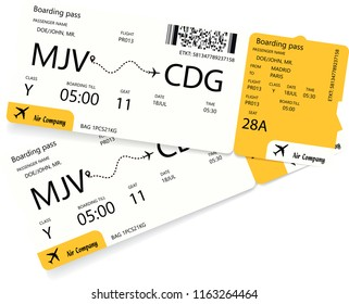 Airplane ticket template. Pattern of yellow boarding pass coupon isolated on white background. Vector illustration