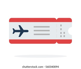 Airplane ticket vector flat material design object. Isolated illustration on white background.