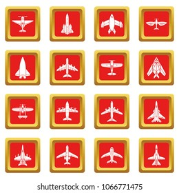 Airplane top view icons set vector red square isolated on white background