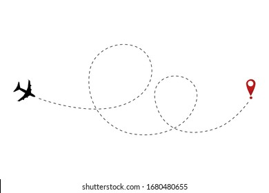 Airplane track to point with dashed line way. Path route symbol Flat vector sign isolated on white background. Airplane line path vector icon