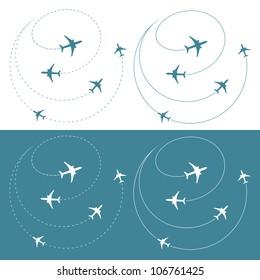 Airplane traffic around the world - vector illustration