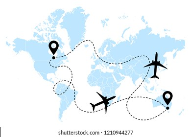 Airplane transatlantic round-trip line path vector icon of air plane flight route with start point and destination. Aircraft clip art icon with route path track. Airplanes on world map vector.
