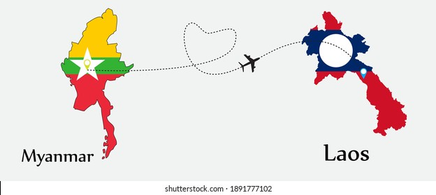 Airplane transport from Myanmar to Laos. Concept a good tour travel and business of both country. And flags symbol on maps. EPS.file.