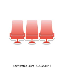 Airplane Transport seats sign illustration. Vector. Reddish icon with white and gray shadow on white background. Isolated.