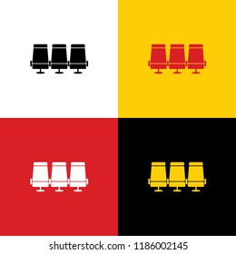 Airplane Transport seats sign illustration. Vector. Icons of german flag on corresponding colors as background.