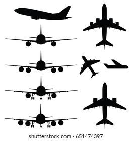 airplane transportation in black color set art illustration