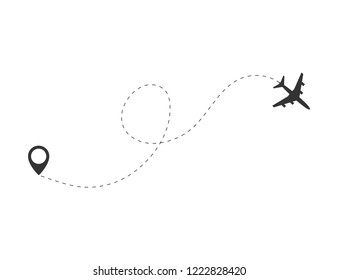 Airplane travel concept. Plane with start  point and route dash line on white background. Vector