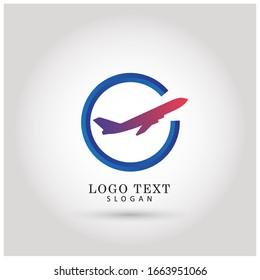 Airplane & Travel Logo. Icon & Symbol Vector Template.