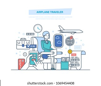 Airplane traveler. Tourism, air travel to world. Purchase, booking online tickets through mobile application. Traveler using onboard internet WiFi provided by airline. Illustration thin line design.