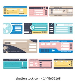 Airplane traveling tickets or boarding passes isolated objects vector paper plane board access admission journey or business trip Earth planet symbol vacation abroad tourism aircraft embarking.