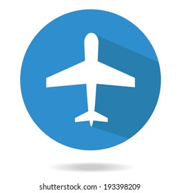 Airplane trendy icon. Plane on a blue circle. Flat style vector illustration. ?ommercial fleet