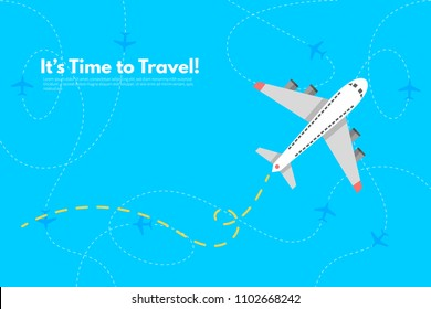 Airplane to Vacation. It's Time to Travel text. Travel concept background. Flat design vector illustration