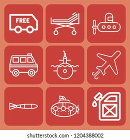 Airplane, van, submarine, delivery, stretcher, fuel station, submarine torpedo icon set suitable for info graphics, websites and print media and interfaces