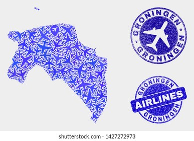 Airplane vector Groningen Province map collage and grunge watermarks. Abstract Groningen Province map is designed of blue flat randomized aircraft symbols and map pointers. Flight plan in blue colors,