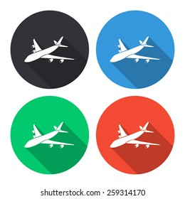 Airplane vector icon - colored(gray, blue, green, red) round buttons with long shadow