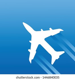 Airplane vector icon isolated on blue background