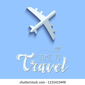 Airplane Vector Icon on Blue Background. Flat Lay Aircraft Concept. Time to Travel Lettering. Hand drawn vector Illustration. Travel and Transportation Minimal Illustration.